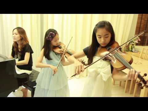 Let It Go (Frozen) cover - 2 Violins & Piano - Note(13)& Pin(9) & Mom (โน้ต & พิณ)