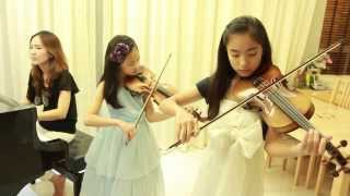 Let It Go (Frozen) cover - 2 Violins & Piano - Note & Pin Sisters + Mom (โน้ต & พิณ)