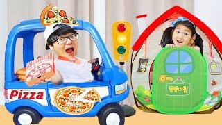 Boram vs Dad fingem brincar com brinquedos de cozinha PIZZA