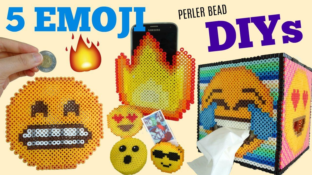 5 DIY Perler Bead Emoji Room D?cor Projects! - YouTube