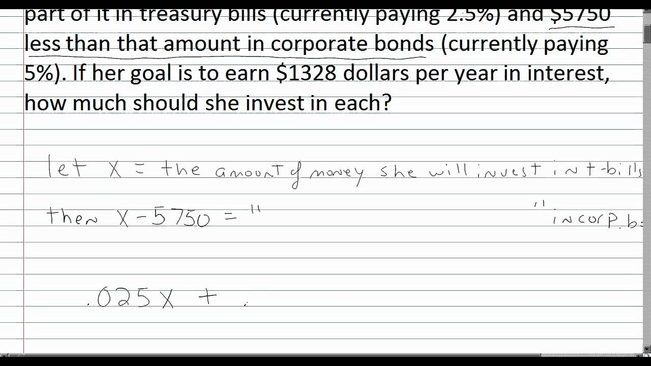 Algebra 1 Word Problems: Simple Interest - YouTube