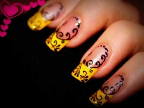 Nail Design- Yellow French with Black swirls. Nail art pen. - Nail Design- Yellow French With Black Swirls. Nail Art Pen. - YouTube
