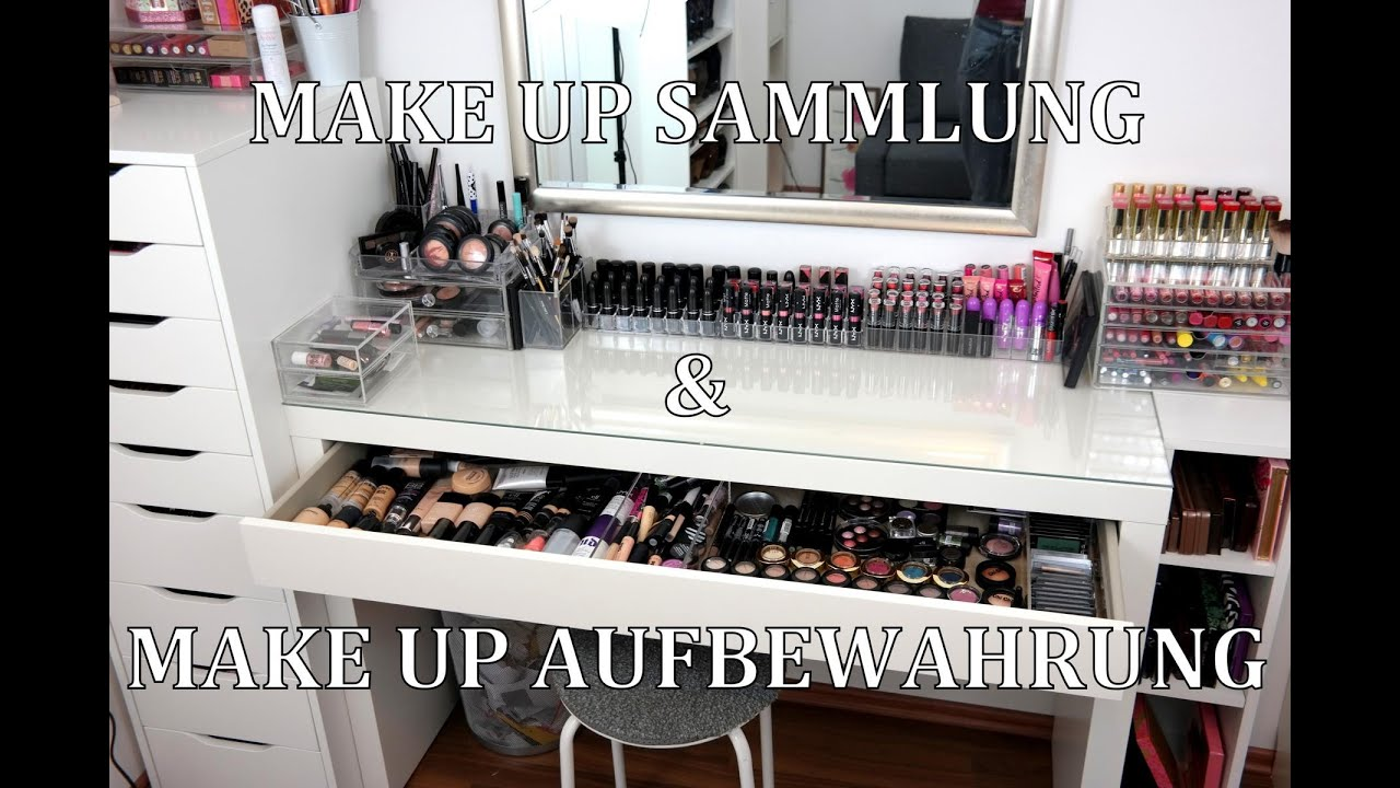 make up sammlung aufbewahrung mein schminktisch update ikea m bel alex malm youtube. Black Bedroom Furniture Sets. Home Design Ideas