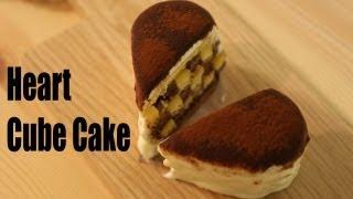 Heart-shaped Cube Tiramisu Cake