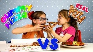 GIANT GUMMY PIZZA VS GIANT REAL PIZZA CHALLENGE Real vs Gummy