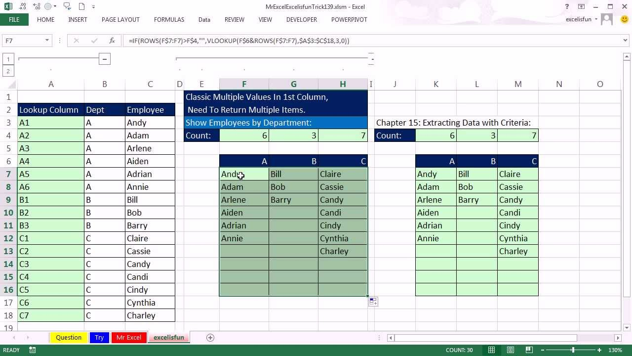 mr excel  u0026 excelisfun trick 139  formula to list employees