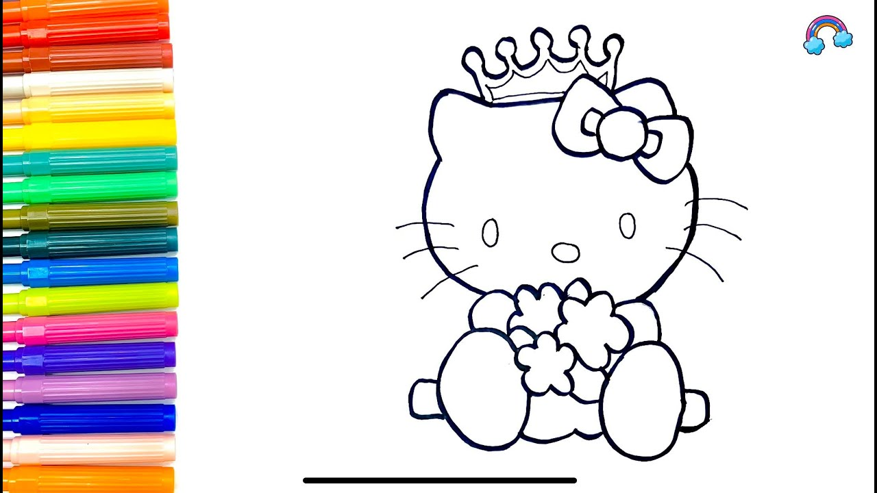 How To Draw A Kitty Cat And Coloring With Rainbow Colors ...