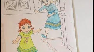 Bé tô màu công chúa Elsa và Anna - Nữ hoàng băng giá (Frozen) - Trò chơi sáng tạo