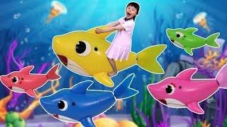 아기상어를 타고 물속 여행해요! 웃긴 영상 모음 | baby shark Kids Songs and Nursery Rhymes with nursery rhymes songs