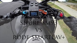 Shure SM93 vs Rode smartLav+ Test (Zoom H6 Wired Motorcycle Intercom)