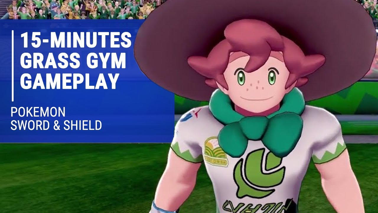 Pokemon Sword & Shield - 15-Minutes of Battling in the Grass Gym - YouTube