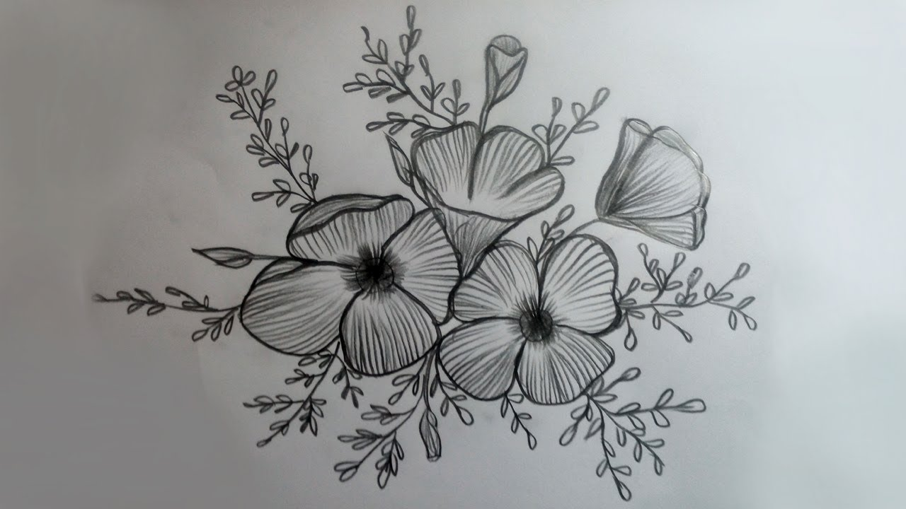 How To Draw Flowers Designs Easy Flowers Drawing Simple Pencil Drawing Shading For Beginners Youtube
