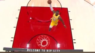 LeBron James Lakers First Points, 2 Dunks In 16 Seconds!