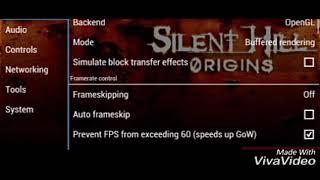 Silent Hill origins best settings for PPSSPP emulator
