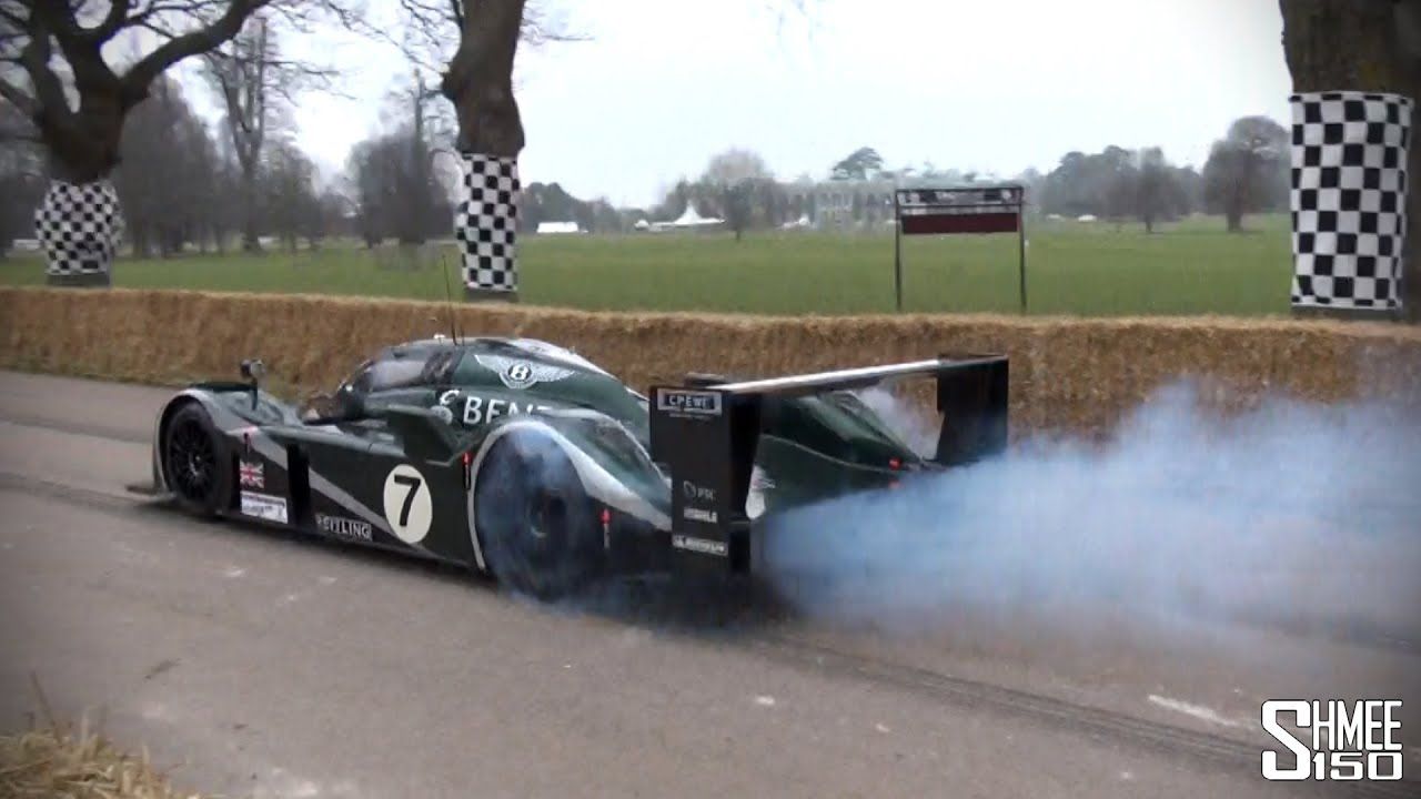 bentley speed 8 - burnouts and accelerations - le mans 2003 winning