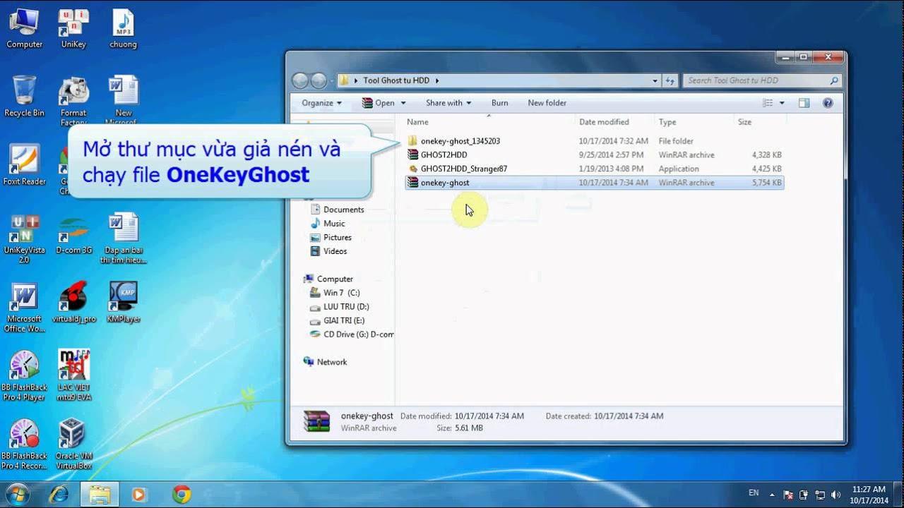 Cách ghost máy tính bằng ổ cứng cho Win 8, Win 7, Win XP