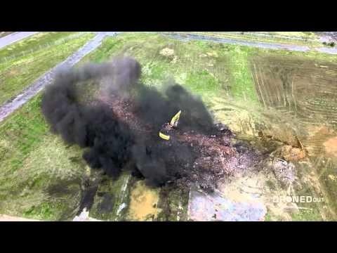 Smokestack Demolition Seen by Drone | Excavator Fail