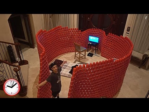 BUILDING A GIANT 10,000 RED CUP FORT!! (24 HOUR OVERNIGHT CHALLENGE) | FaZe Rug