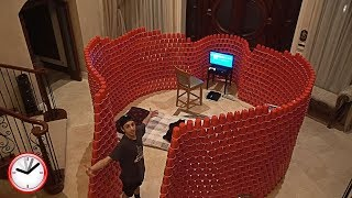 BUILDING A GIANT 10,000 RED CUP FORT!! (24 HOUR OVERNIGHT CHALLENGE) | Challenges | FaZe Rug