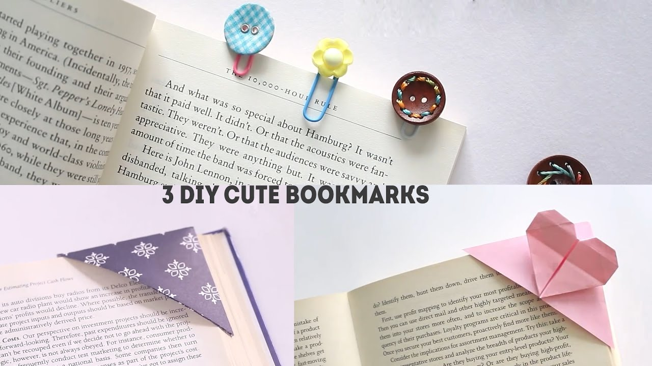 Diy Bookmarks Part - 28: 3 Easy DIY Bookmarks