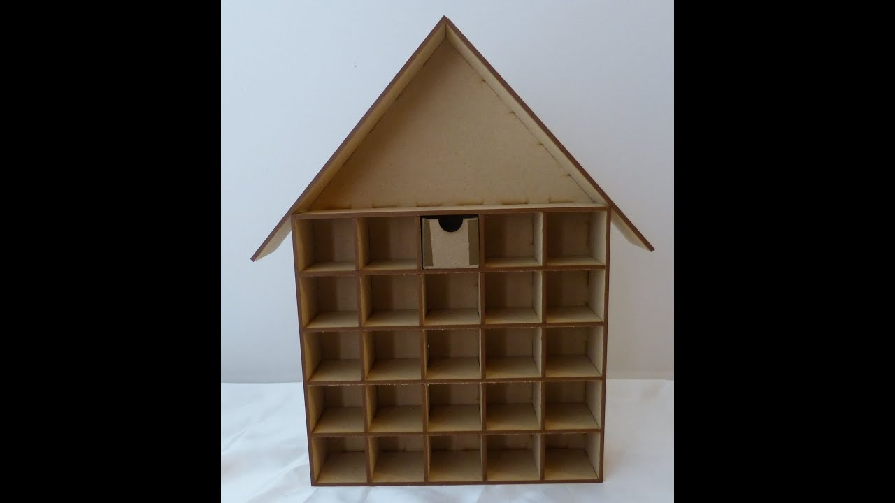 Instruction:House Advent Calendar Shadow Box For Sa
