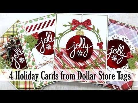 4 Christmas Cards from Dollar Store Tags Polly's Paper Studio Scrap Your Stash Tutorial Process DIY