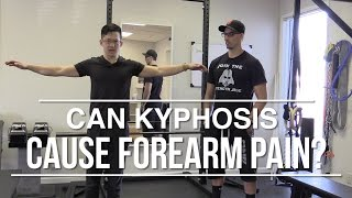 Can kyphosis and a raised hip cause wrist and forearm pain?
