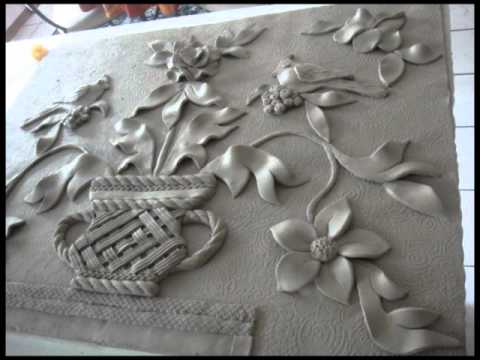 Ceramic wall sculpture youtube for Clay mural designs