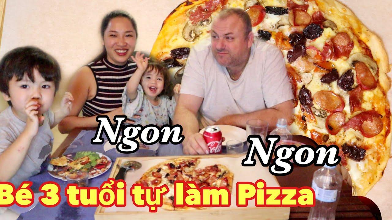 Bé 3 tuổi Tự làm Bánh pizza siêu ngon ăn là Ghiền 💥 PIZZA làm tại nha cùng chồng Tây| nhà của Oanh