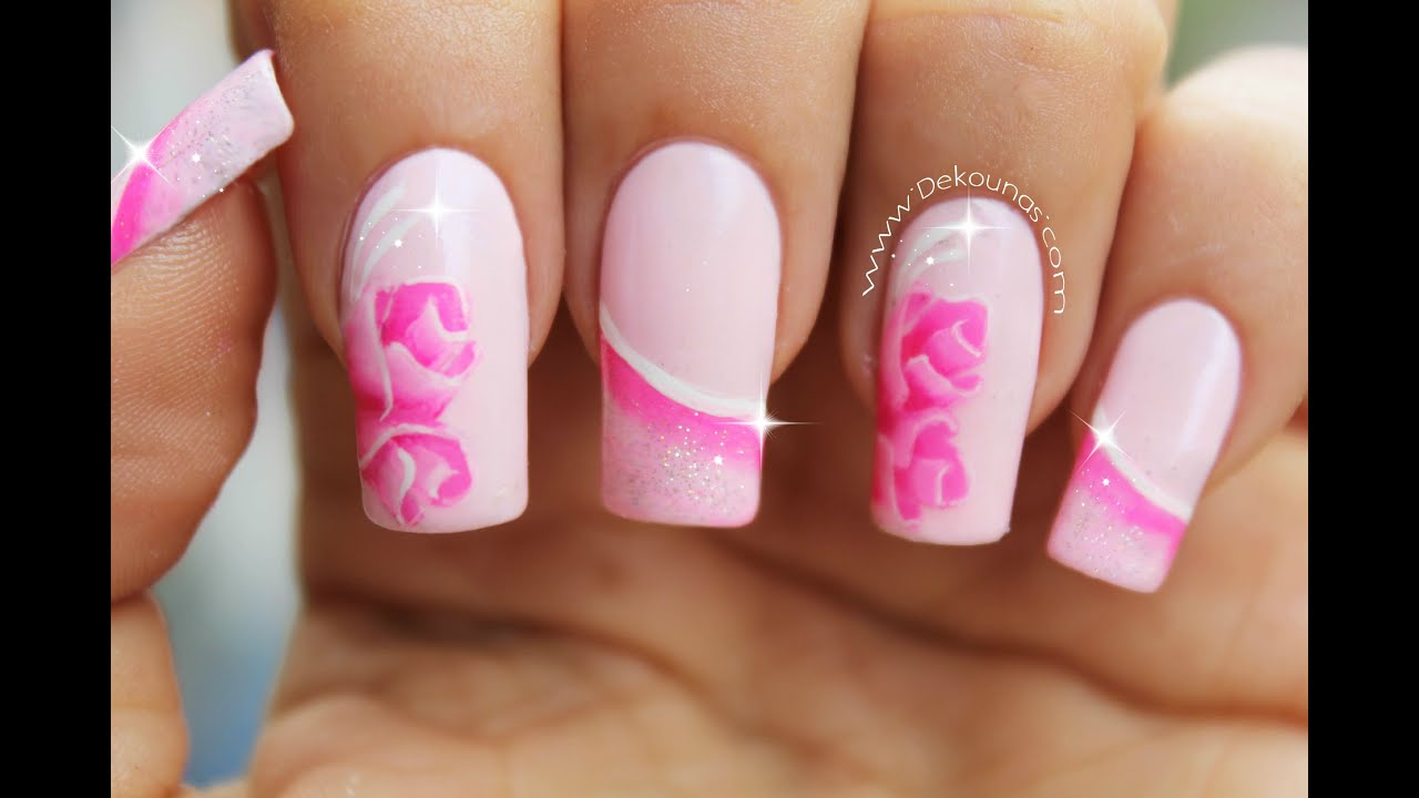 Decoraci n de u as rosas roses nail art youtube - Decoracion de unas colombianas ...