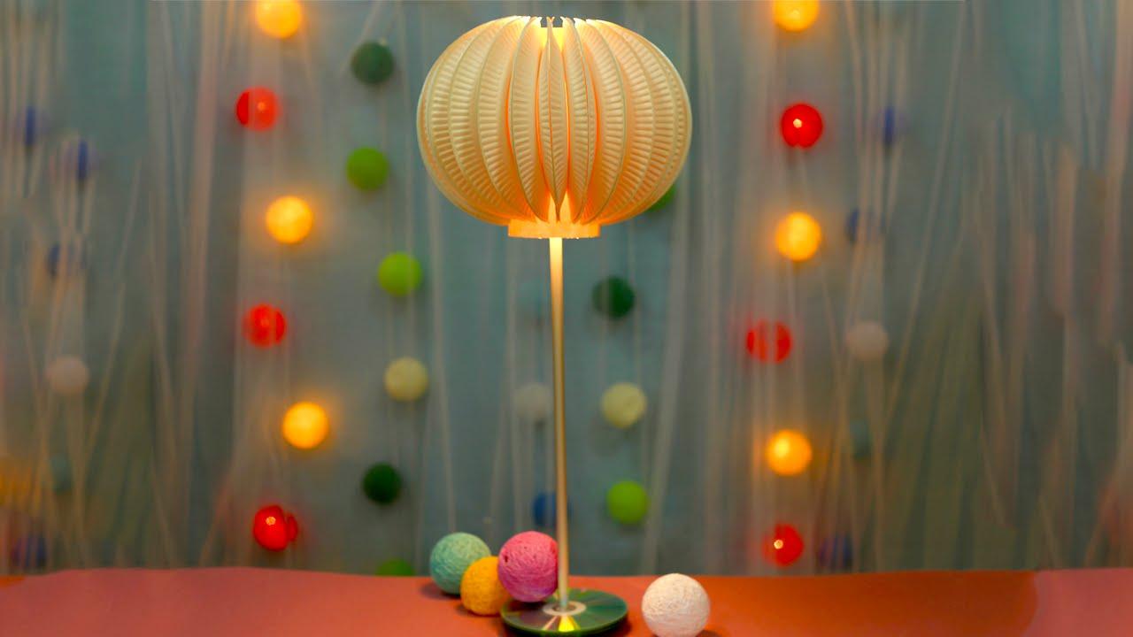 & DIY Paper Plate Hi-Tech Lamp Design - YouTube