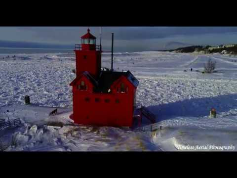 Must see Holland Big Red Lighthouse 4K Drone footage after Polar Vortex Pure Michigan Travel Mp3