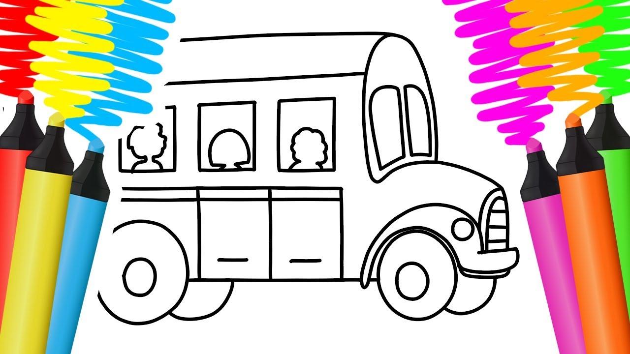 Como Desenhar E Colorir Onibus Comida E Camelo Pintar E