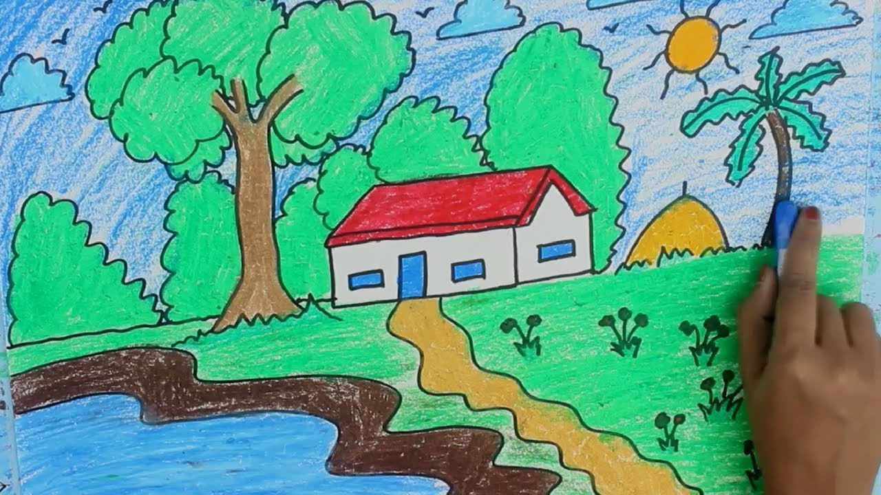 How to draw Village scenery Or Rural Life | Coloring pages and ...