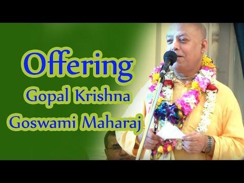 Offering by Surdas Prabhu to Gopal Krishna Goswami Maharaj at ISKCON Juhu 2016