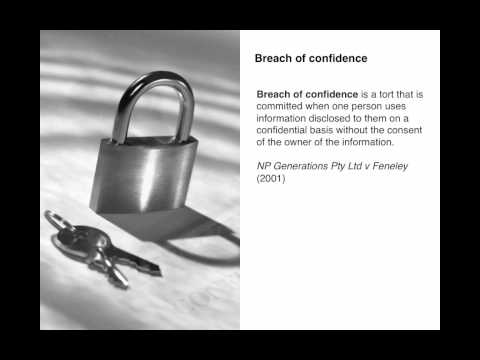 Business Law 8.5: Breach of Confidence