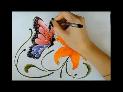 Рисуем карандашом и раскрашиваем гуашью бабочку и цветочек ...