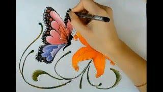 Рисуем карандашом и раскрашиваем гуашью бабочку и цветочек (цветок, лилию)(В этом видеоролике на канале Ютуб рисуем карандашом и раскрашиваем гуашью бабочку и цветочек. Вы увидите..., 2016-04-09T08:26:03.000Z)