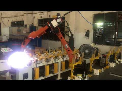 Fineweld-OTC Daihen-Kuka Robot-Arm Welder Combination Robotic Welding of AlluForms Jobs.
