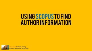 Using Scopus to fİnd Author Information