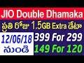 Jio double dhamaka    jio 1.5 gb extra data    jio double dhamaka telugu    tekpediatelugu