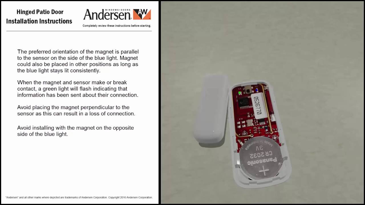 Wireless Openclosed Sensor Installation Instructions Hinged Patio