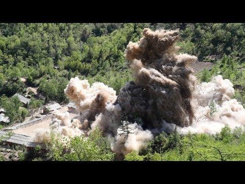 لحظة تدميرمرافق بموقع بونغيي ري للتجارب النووية بكوريا الشمالية