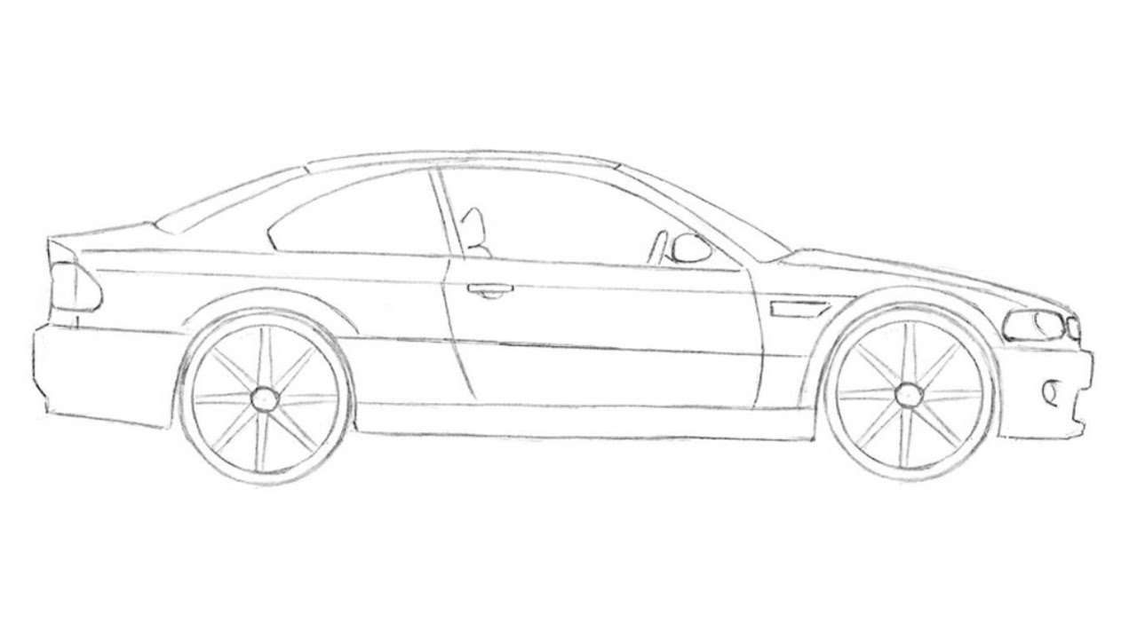 How to draw BMW M3 (2000) under a MINUTE step by step