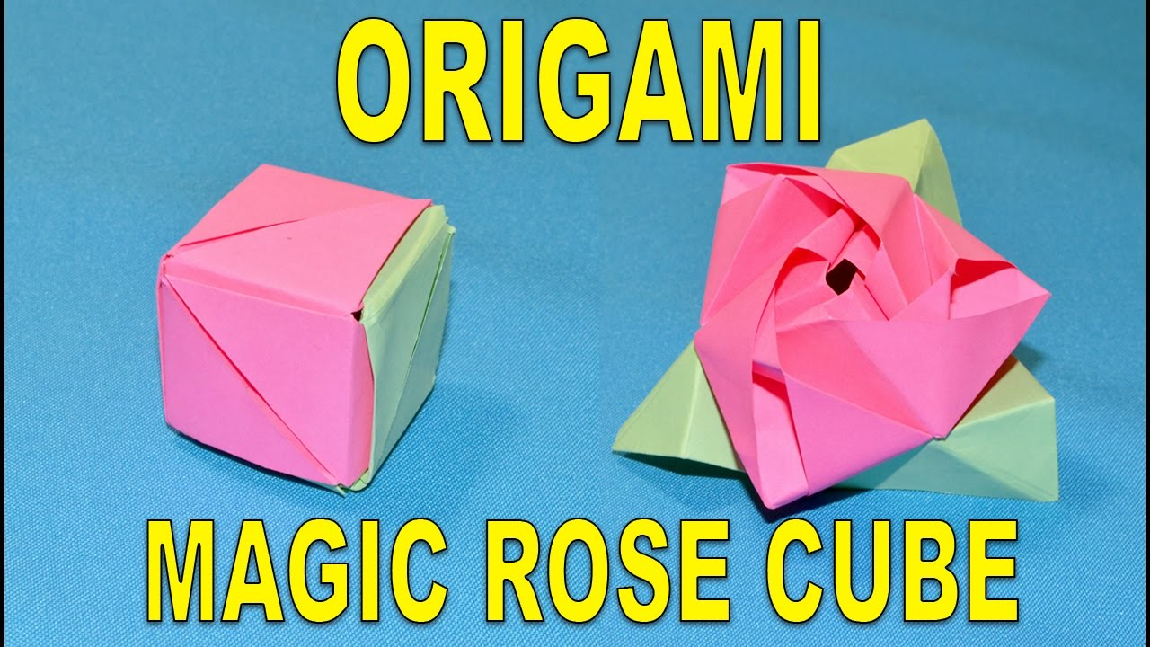 How to make an origami magic rose cube paper flower rose organza how to make an origami magic rose cube paper flower rose organza mightylinksfo