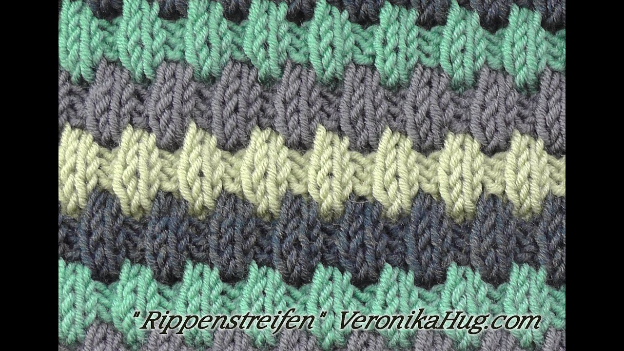 Stricken - Hebemaschenmuster - Rippenstreifen - Veronika Hug - YouTube