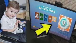 TRUMAnn Gives *5 YEAR OLD KID* 1,000 FREE V-Bucks & NEW Epic Complete Freeze Snow Set (Fortnite)