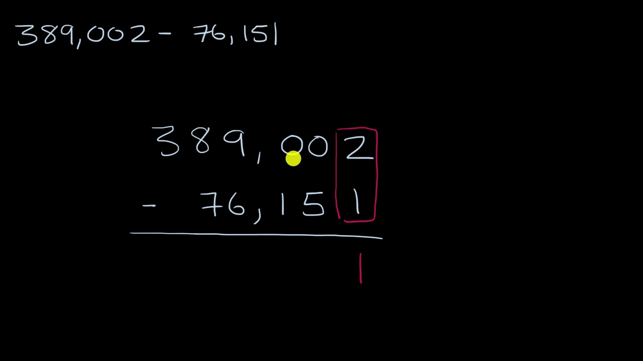 Subtracting multi digit numbers with regrouping