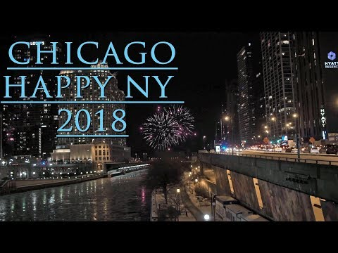 chicago happy new year 2018 view of fireworks from michigan ave