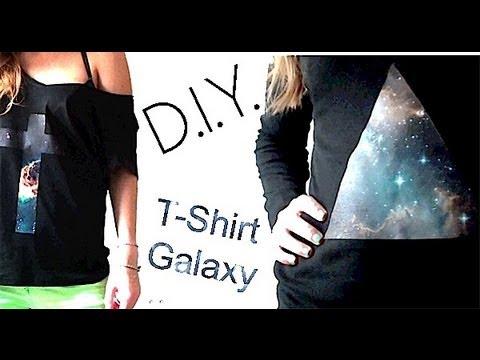 tutoriel d i y t shirt comment faire un t shirt au motif galaxie how to make a galaxy t. Black Bedroom Furniture Sets. Home Design Ideas